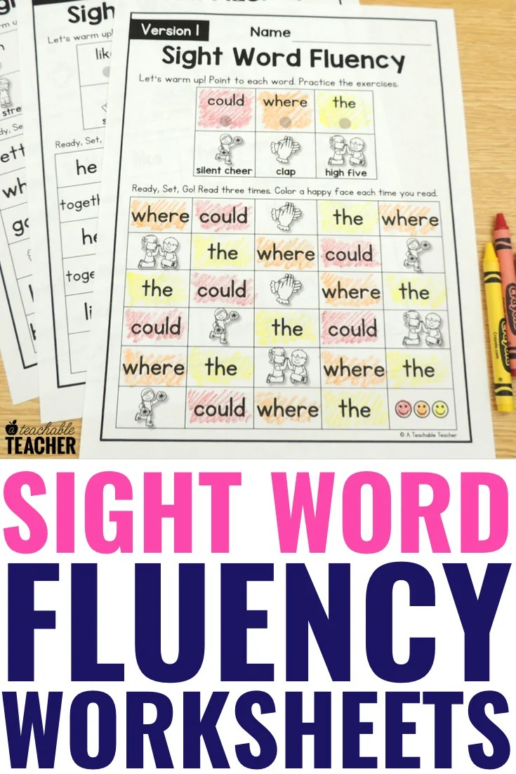 medium resolution of The Best Sight Word Fluency Worksheets of All Time - Editable!