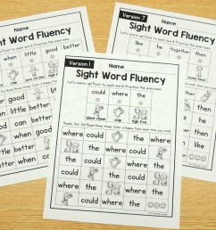 The Best Sight Word Fluency Worksheets of All Time - Editable! [ 1000 x 1451 Pixel ]