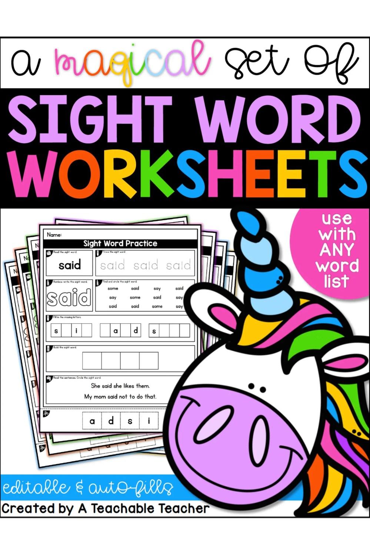 medium resolution of Editable Sight Word Worksheets - A Teachable Teacher