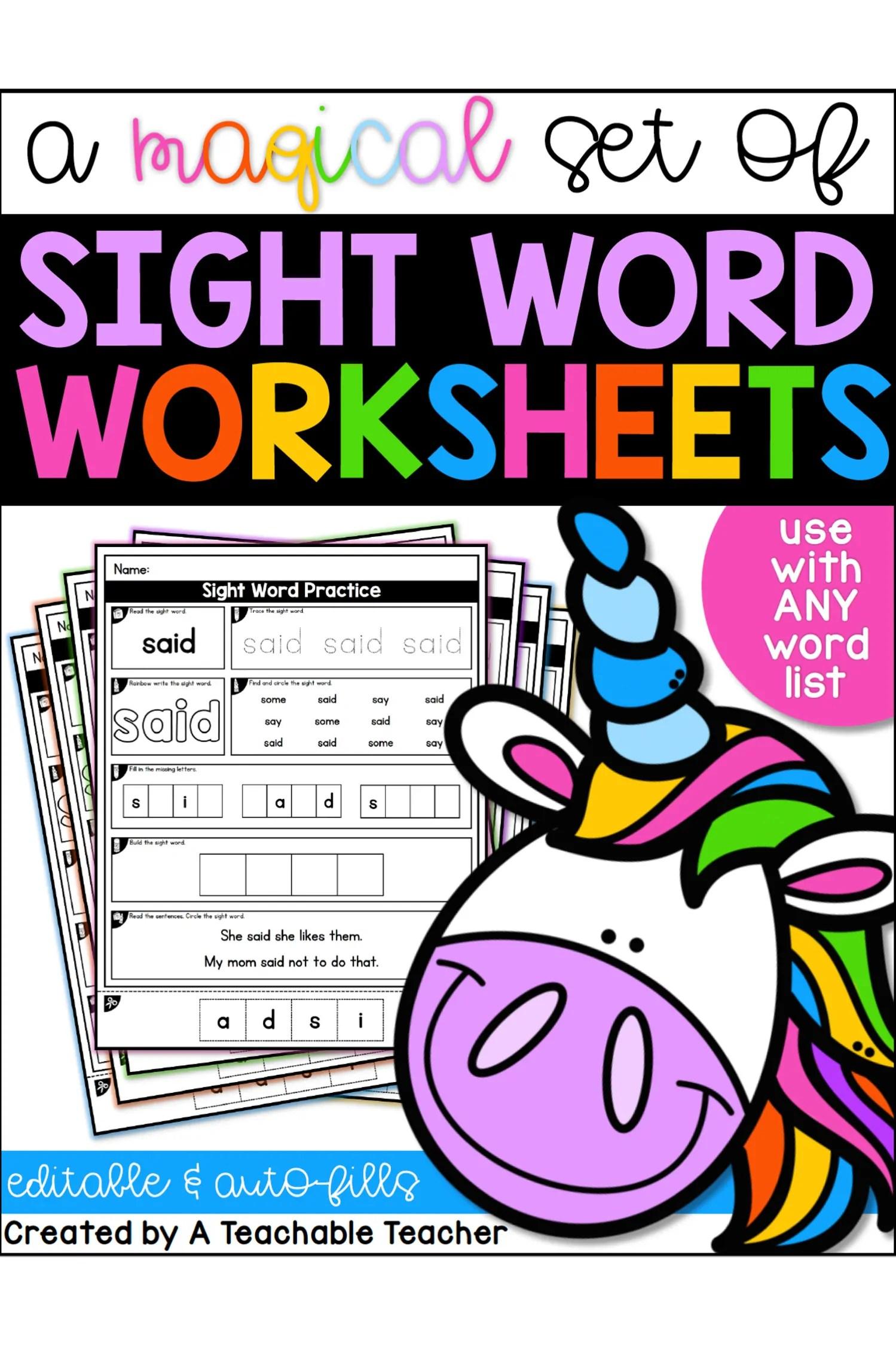 hight resolution of Editable Sight Word Worksheets - A Teachable Teacher