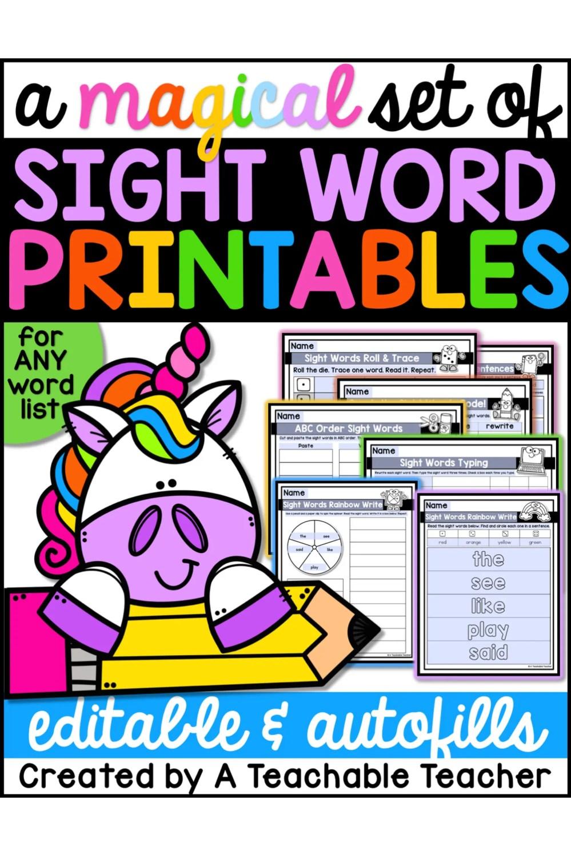 medium resolution of A Magical Set of Sight Word Printables - A Teachable Teacher