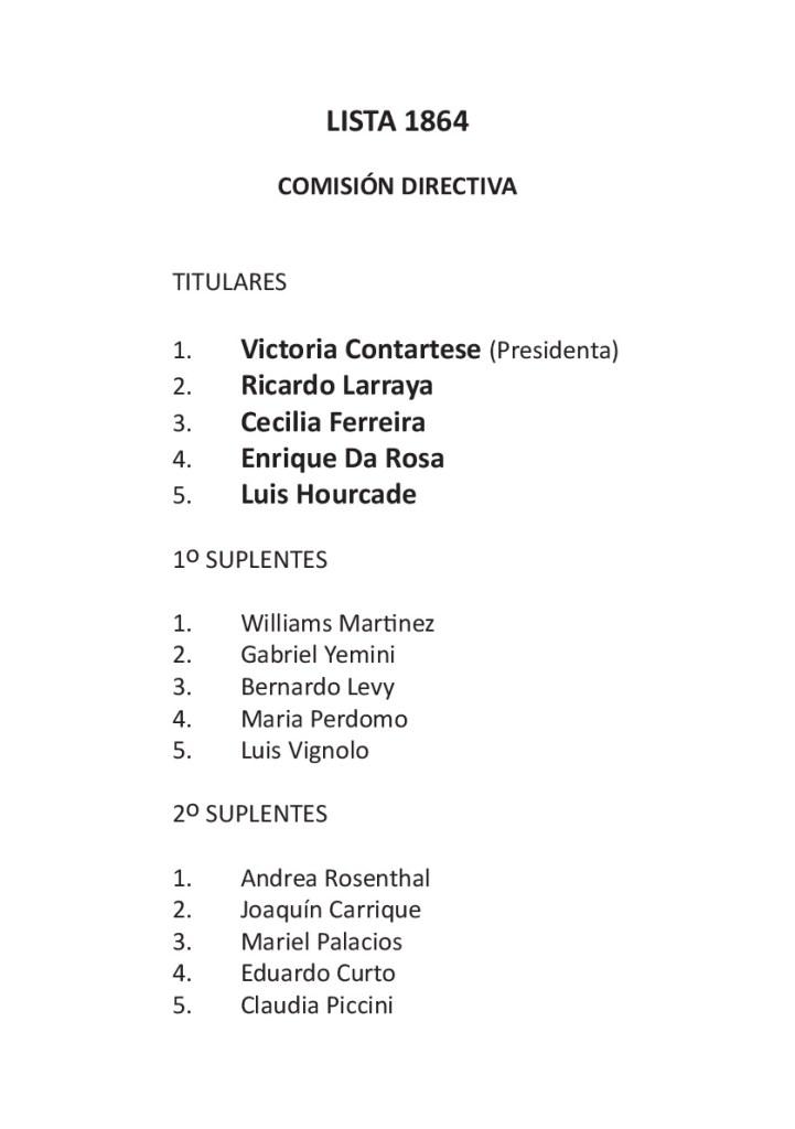 Lista Comisión Directiva 1864