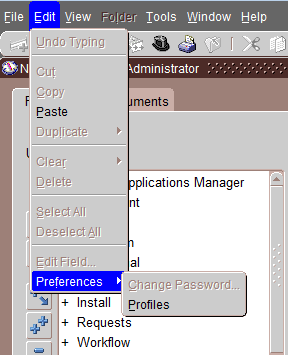 Oracle apps edit -> preferences -> change password field is disabled