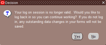 Log on session is no longer valid. Would you like to log back in so you can continue working?