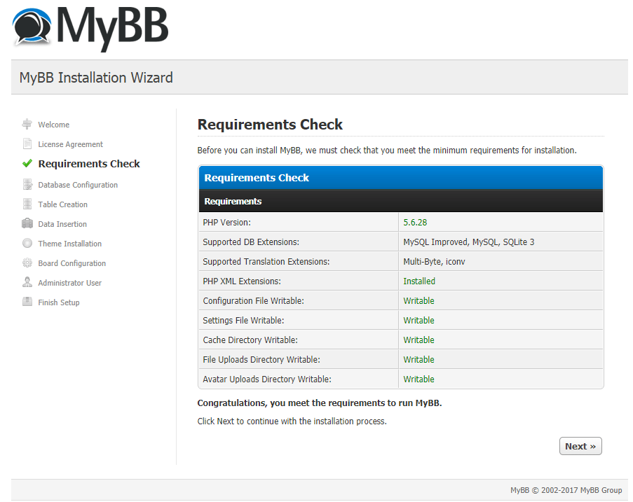 mybb requirements check