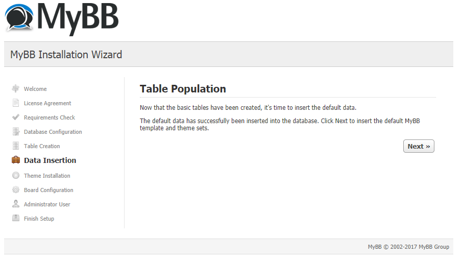 mybb table population