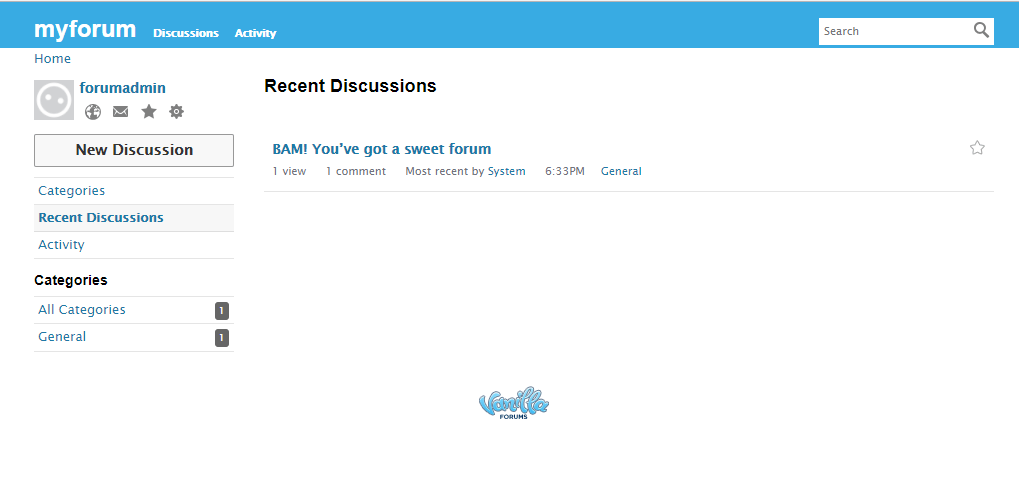vanilla forum default dashboard