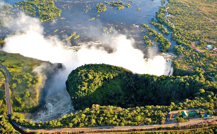 Victoria Falls at its peak from the air