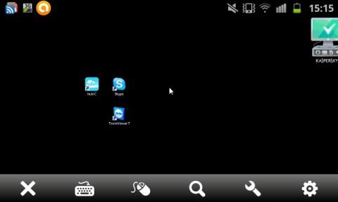 Bureau d'ordinateur vu avec TeamViewer pour android