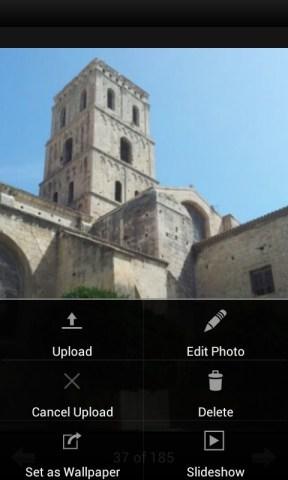 menu de l'application adobe photoshop express sur android
