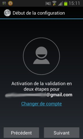 Débuter la configuration de Google authenticator