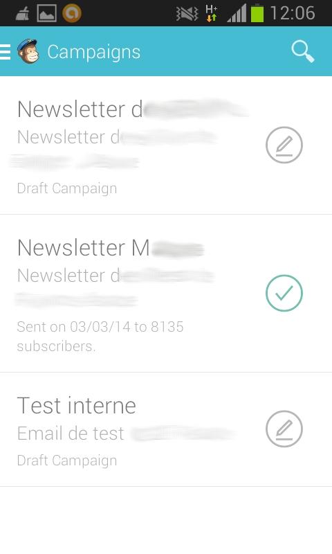 Liste des campagnes d'emailing avec MailChimp pour android