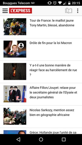 Application du journal l'Express