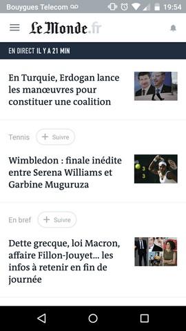Application du journal Le Monde