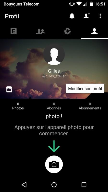 Un profil utilisateur de l'application EyeEm