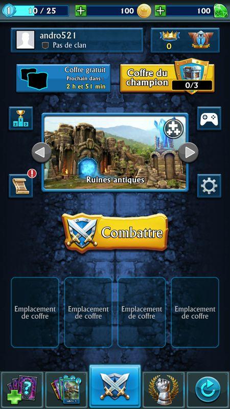 Ecran principal avec informations du joueur avant la bataille