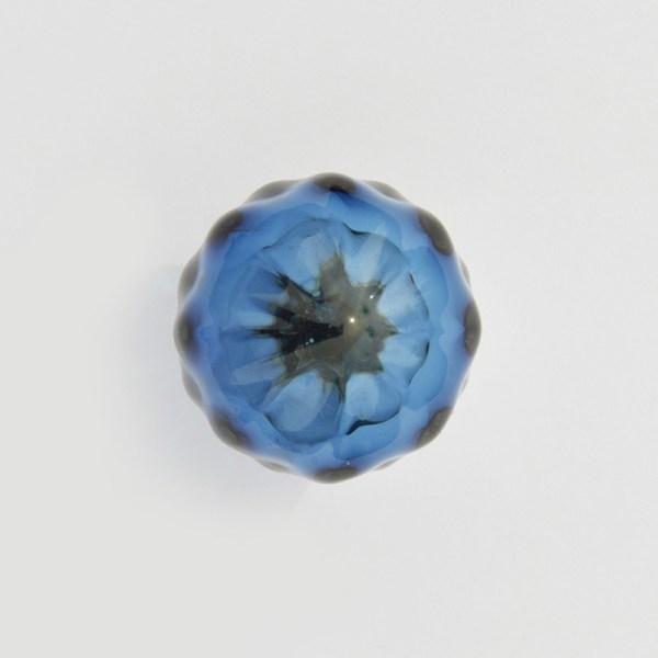 Bouton de tiroir Ravenne en verre soufflé bleu saphir-Cabinet knob handblown glass