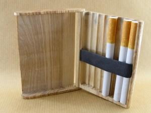 chestnut wood cigarette case shown open