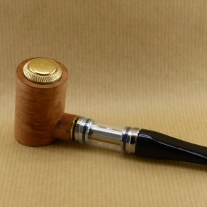 "left side view of my electronic pipe ""reverse poker"" worked in briar wood with ebonite stem"