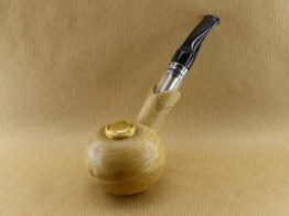 front left view of my spherical e-pipe made with acacia wood