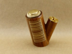 left view of my barcod e-pipe worked with walnut wood