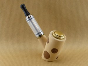 E-pipe with ash and walnut polka dots view from right side