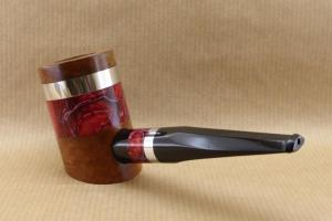 """Rear left view of a tobacco pipe from """"COLORS"""" collection. Briar and red Acrylic."""