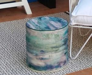 création pouf, tissu outdoor Casamance