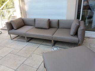 canapé outdoor en Silvertex . Atelier Pichoux Décoration