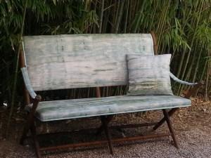 canapé, tissu façon impressionniste de chez Casamance