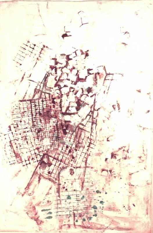 Weißes Dorf, Mischtechnik, 50x70