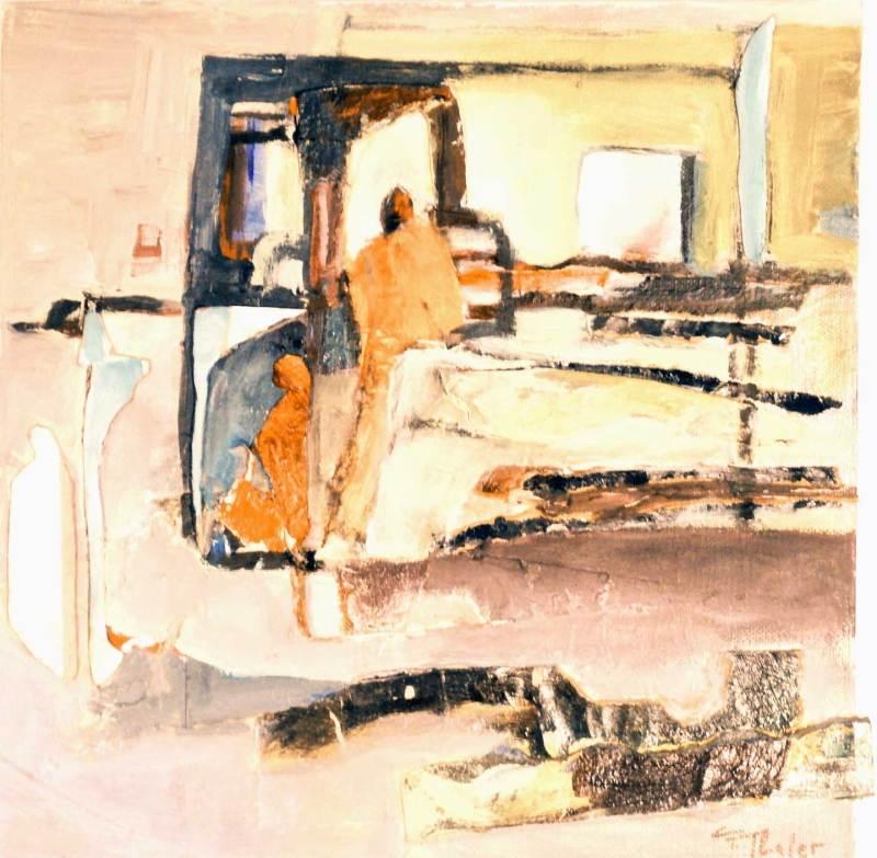 Sicht von außen, Collage, Acryl auf Leinwand, 30x30