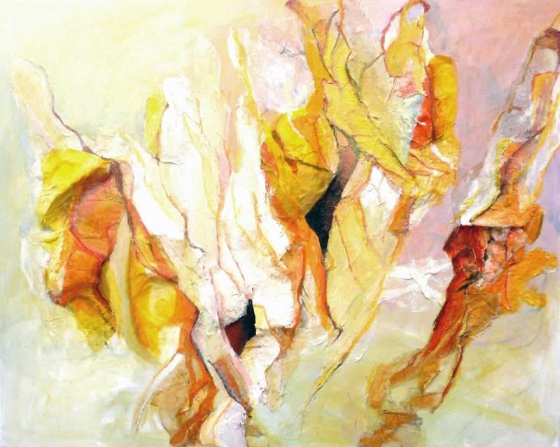 Seide Papier Relief, Acryl auf Leinwand, 80x100