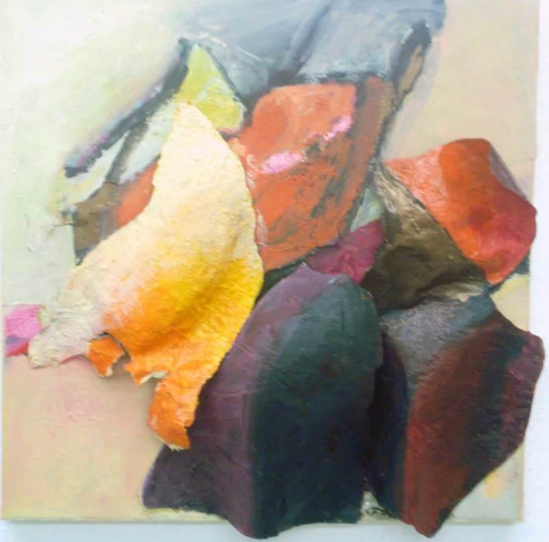 Afrikanische Impression, Papier Relief, Acryl auf Leinwand, 40x40