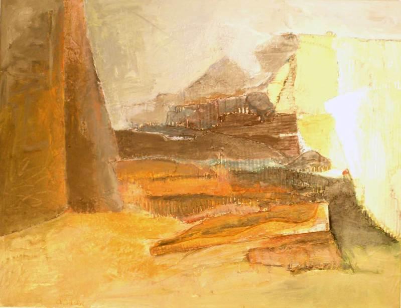 Weite Aussicht, Collage, Acryl auf Leinwand, 65x85