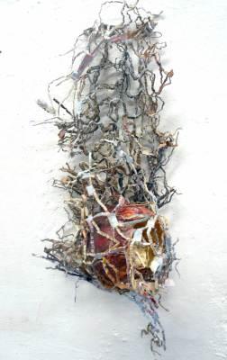 Gefangen im Netz, Papier, Acryl, 60x20