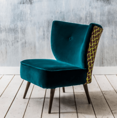 Graham and Green Alpana African Print and Teal Velvet Cocktail Chairs