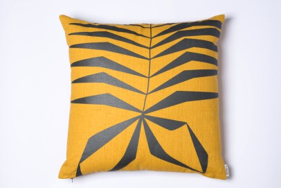 AMWA Designs Aya Mustard Yellow Grey cushion