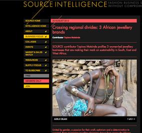 Tapiwa Matsinde Source Intelligence Magazine Ethical Fashion Forum Crossing regional divides three African jewellery brands showing Adele Dejak