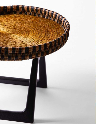 Side Table with Basket Woven surface