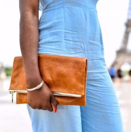 Kova Namibia tan fold over leather clutch