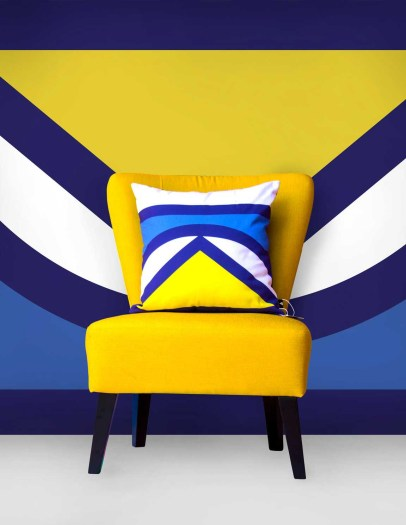 Blue Yellow White Cushion Geometric Pattern Inspired By Africa Heritage and Cultures