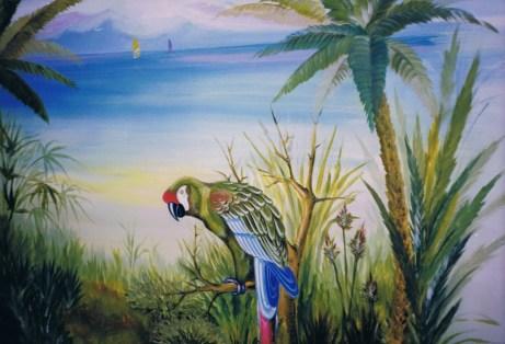 Ara Papagei Wandmalerei