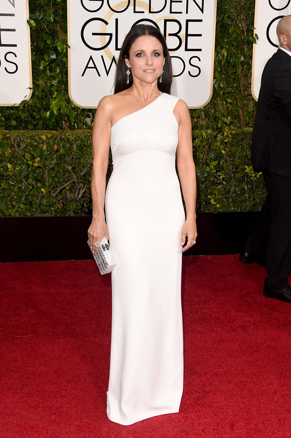 Julia Louis-Dreyfus in Narciso Rodriguez and Irene Neuwirth jewelry