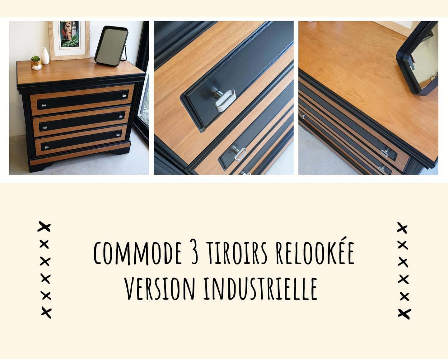 commode 3 tiroirs relookée style industriel