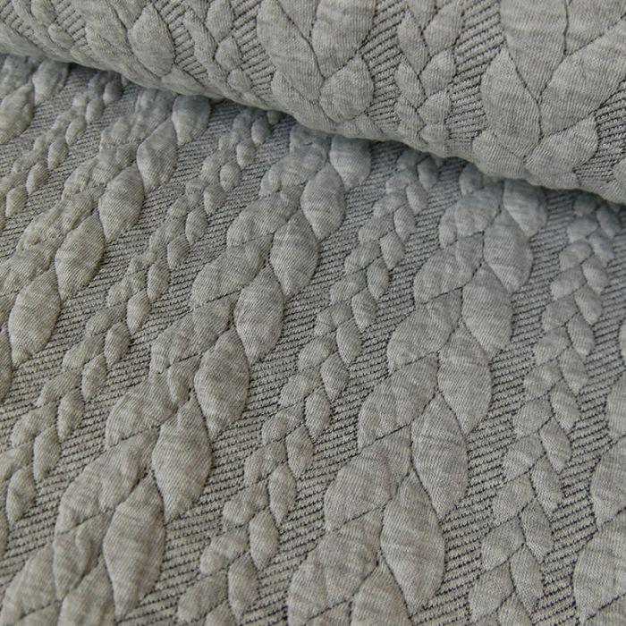 tissu sweat jersey matelasse torsades gris chine