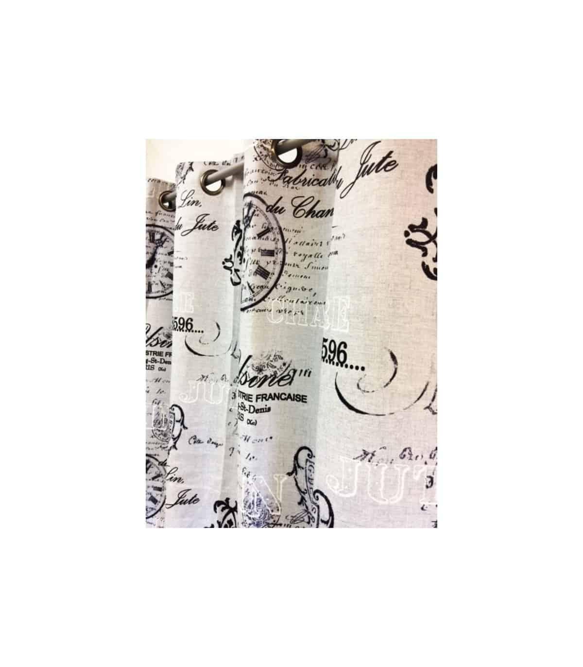 rideau occultant gris imprime industriel