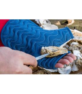 gant a huitre double face uni blanc et bleu