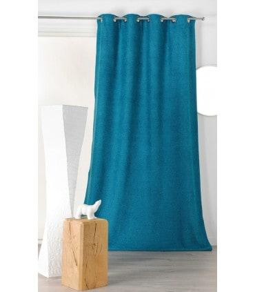 rideau isolant et phonique velours bleu canard