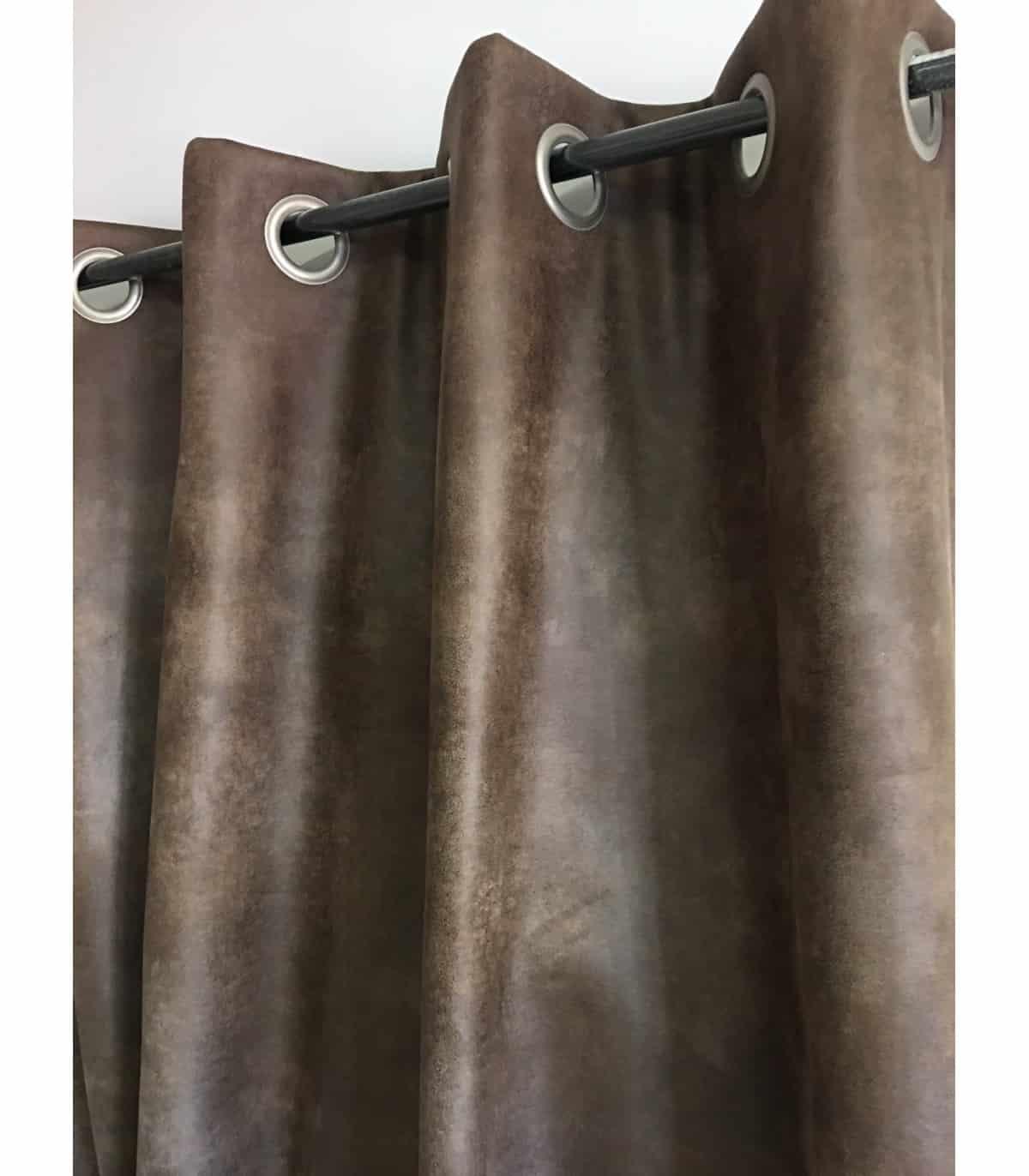 rideau aspect faux cuir use chocolat